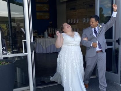 "Carolyn & Zach: ""Guests and vendors referred to us as ""the happiest Bride & Groom"" they've ever seen."""
